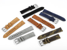 New Suede Leathetr Watchband 18mm 19mm 20mm Vintage Handmade Watch Strap Grey Brown Replacement Belts For Watch Accessories
