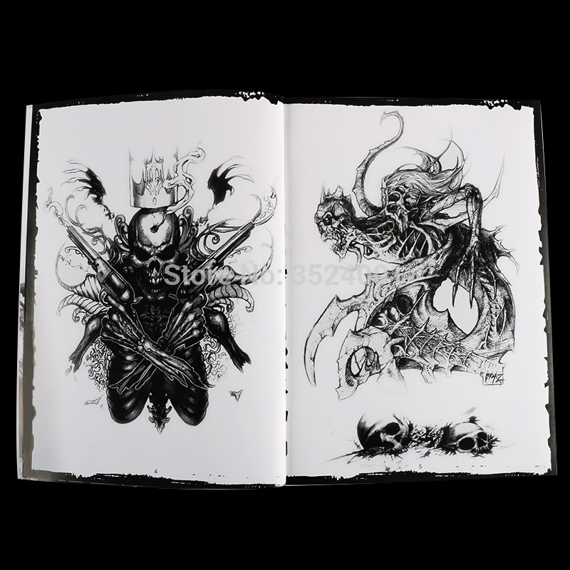 Image 2 - Newst 76 Pages A4 Tattoo Book Black Sexy Skull Design Sketch Flash Book Tattoo Flash Sketchbook Free Shipping B5-in Tattoo accesories from Beauty & Health