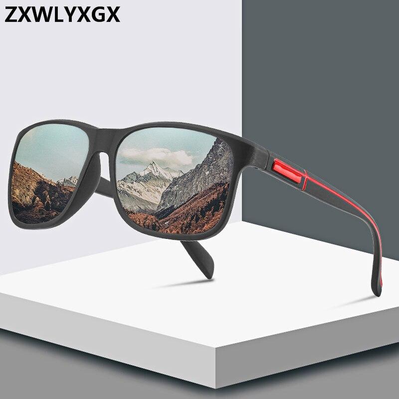 ZXWLYXGX Brand Designer New Fashion Polarized Sunglasses Men Square  Frame Male Sun Glasses Fishing Driving Sun Glasses UV400