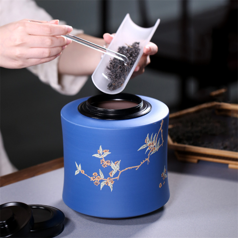 Blue Purple Clay Tea Tank Breathable Moisture-Proof Tea Storage Container Painted Pottery Jar 6 Style Large Ceramics Tea Caddy