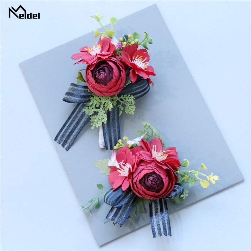 Meldel Artificial Silk Rose Flowers Groomsmen Boutonniere Bridesmaids Wrist Bracelet Wedding Flower Party Man Suit Corsage Decor