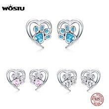 WOSTU 3 Colors Real 925 Sterling Silver Paw Dog Footprint Stud Earrings Blue & Pink Earrings For Women Wedding Jewelry FIE654