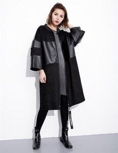 Image 5 - EAM veste grande taille épissée, nouveau col montant à manches longues, manteau femme, mode automne cuir synthétique polyuréthane noir, JC2530