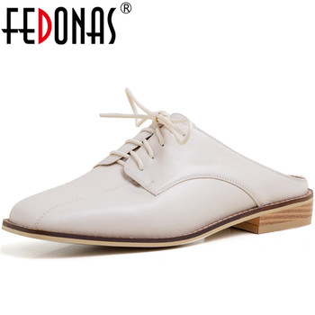 FEDONAS Women Genuine Leather Lace Up Slippers Thick Heels Mules Cross-Tied Basic Shoes Top Quality Summer Sandals Shoes Woman