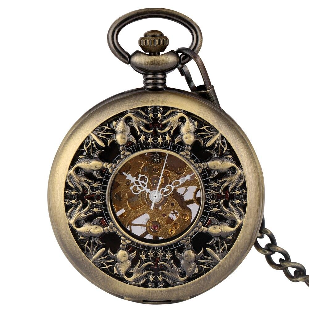 Bronze Hollow Steampunk Mechanical Pocket Watch Pendant Fob Chain Hand-winding Clock Women Men Gift Reloj De Bolsillo