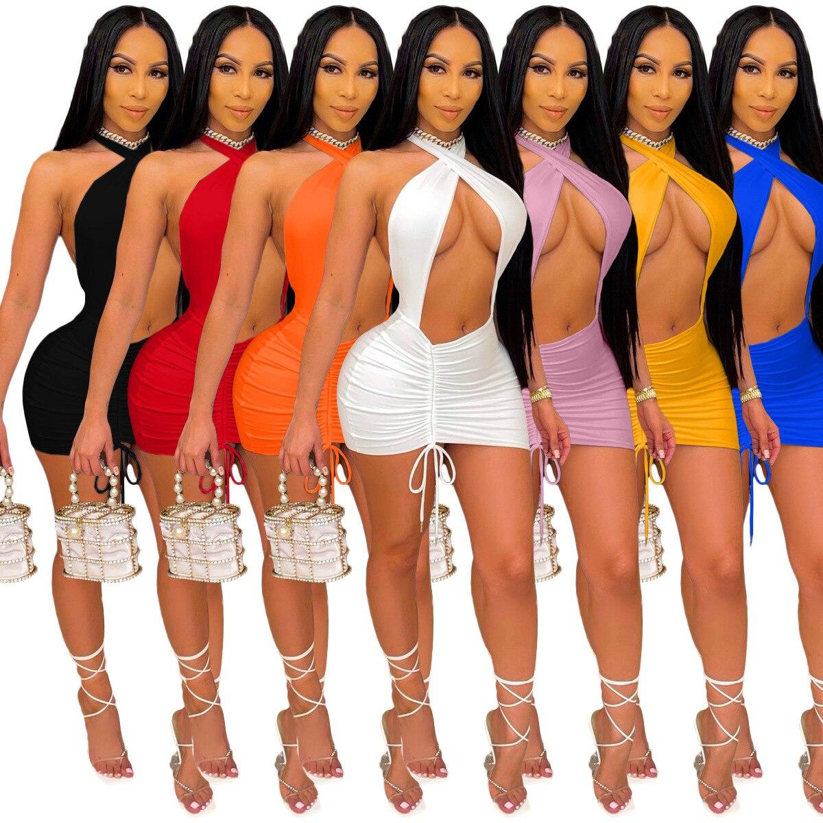 Сексуальное женское вечернее платье Adogirl, элегантное облегающее однотонное мини платье с открытой спиной, вечерние Клубные наряды, платья с рюшами и шнурком|Платья|   | АлиЭкспресс