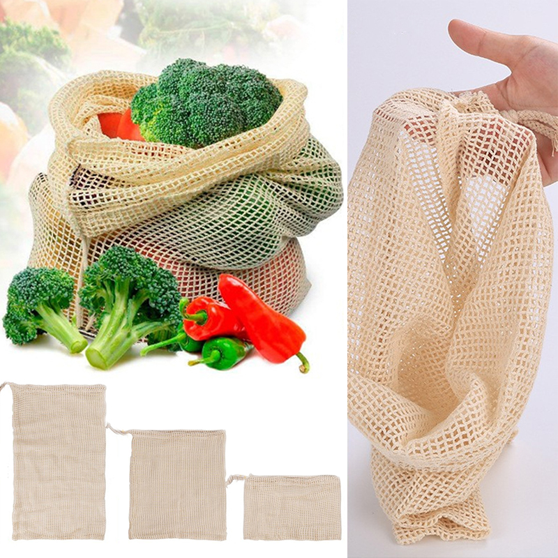 Reusable Vegetable Fruit Produce Storage Bag With Drawstring Home Vegetable Cotton Mesh Bags