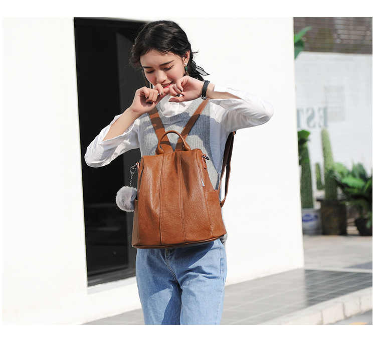 Kulit Zipper Kasual Wanita Tas Sekolah Tas Gadis Vintage Ransel Perjalanan Daliy Wanita Wanita Korea Bagpack C1147
