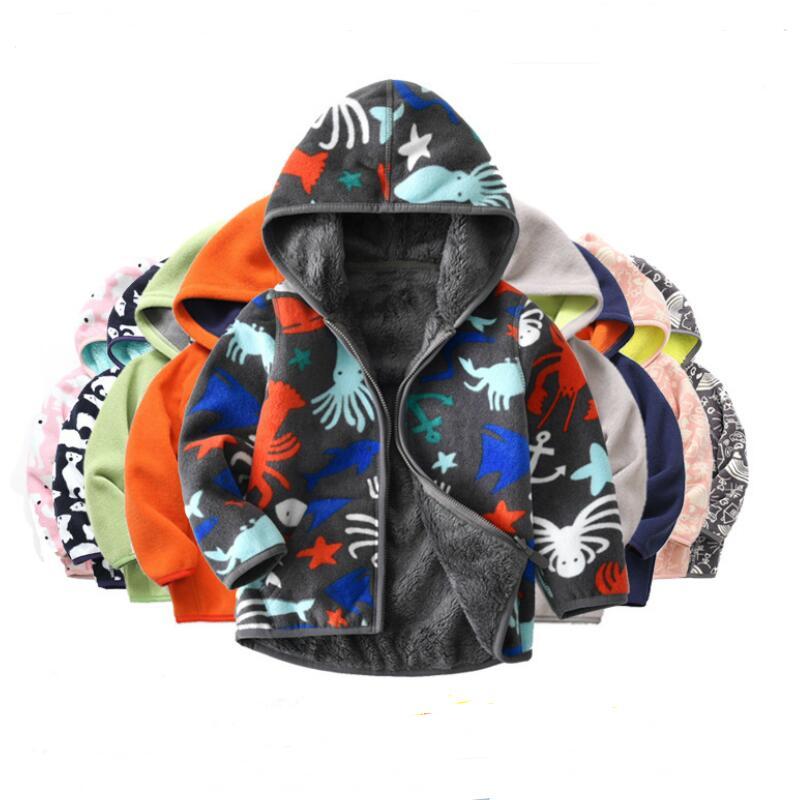 Kids coat fleece boys clothes winter warm clothes children clothing baby spring polar fleece girls boys jacket Hooded kids coat 2