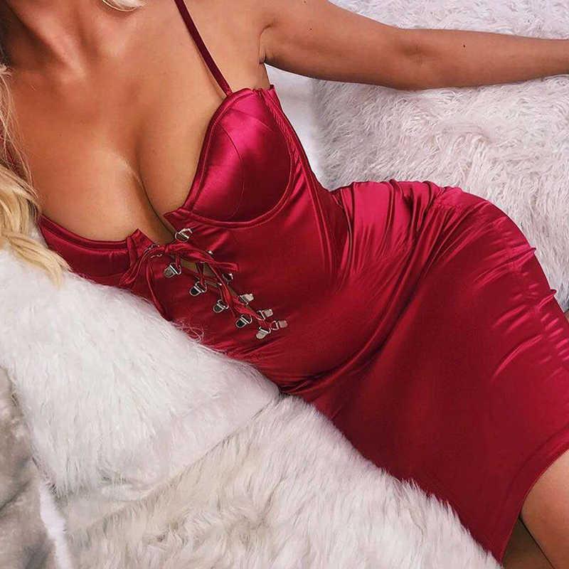 Атласное красное шикарное кружевное сексуальное платье для женщин 2019 Лето Пуш-ап мягкий бюстгальтер атласное женское платье-миди Клубная одежда Вечерние облегающее платье