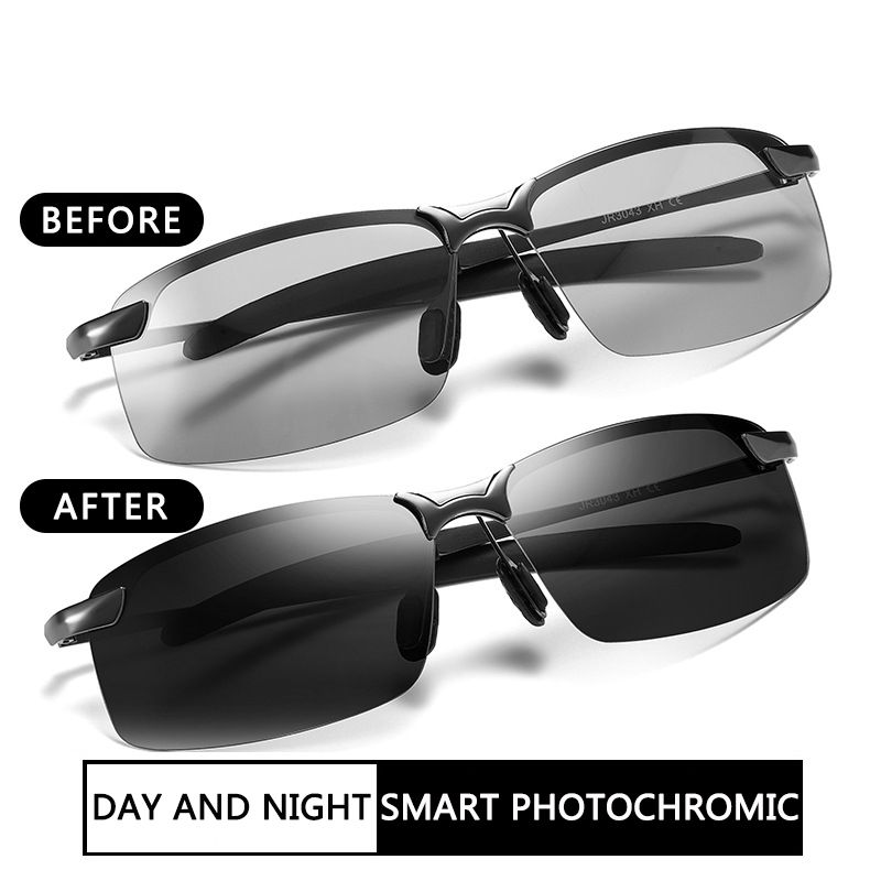 ZXRCYYL Classic Photochromic Sunglasses Men Polarized Chameleon Sun Glasses  Day Night Vision Driving  Anti-glare Eyewear