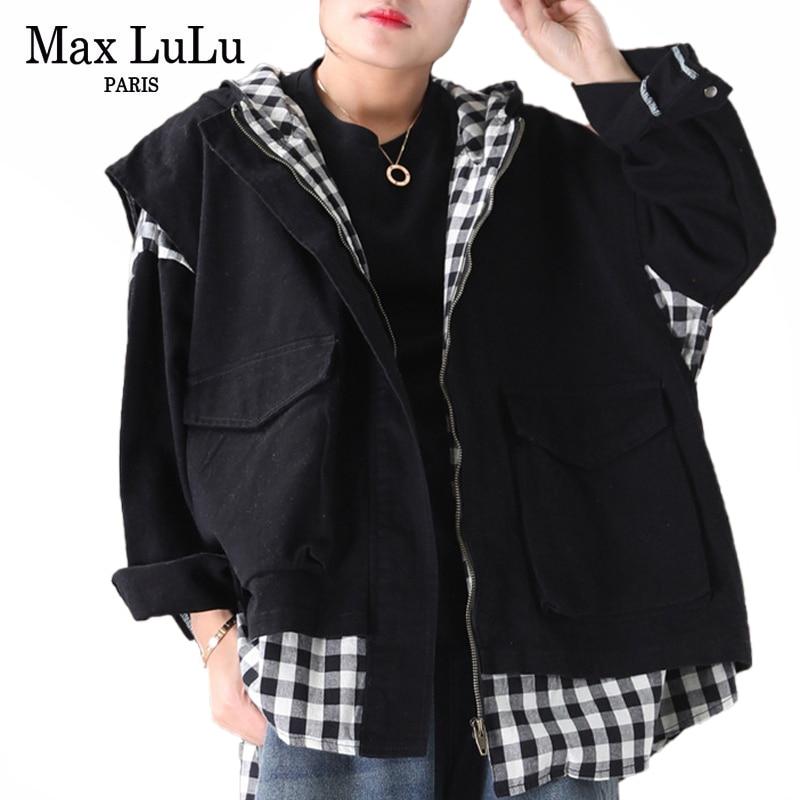 Max LuLu New 2020 Fashion Spring Korean Ladies Plaid Jackets Women Vintage Loose Hooded Coats Fake Two Pieces Clothing Plus Size