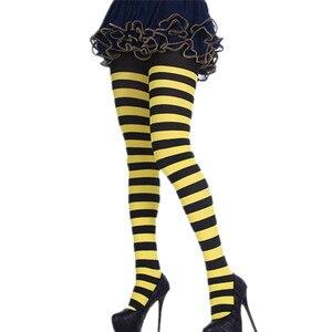 Image 2 - נשים פס הדפסת ארוך צינור הברך גרבי תחפושת מסיבת מצחיק להתלבש אבזרי תחתונים ליל כל הקדושים חג המולד COS גרביונים גרב