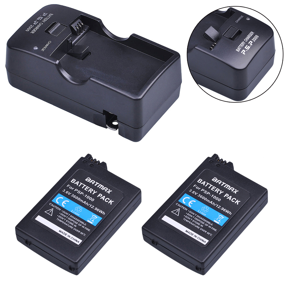 2Pcs 3600mAh PSP 1000 Battery + Charger  for PSP 1000 Playstation Sony PSP1000 Sony PSP 1000 (1001, 1002, 1003, 1004, 1005, 1006