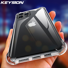 KEYSION Shockproof Clear Case for iPhone 12 12 Mini Transparent soft silicone Phone back Cover for iPhone 12 Pro 11 Pro Max X XR