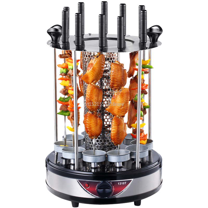 Electric Oven Home Smokeless BBQ Grill Automatic Rotating Barbecue Skewer Grilled Kebab Machine Barbecue Cup