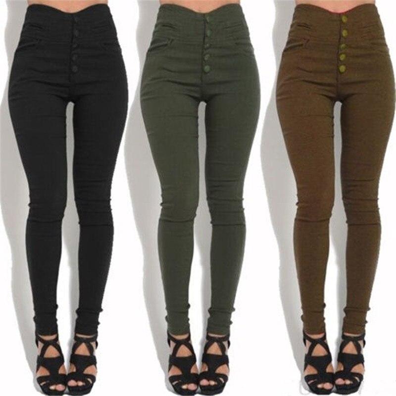 Stylish High Waist Pencil Pants Women Skinny Stretch Slim Fit Trousers Female Black Button Long Pants 3XL Plus Size