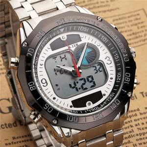 Image 2 - 6.11 New Solar Watch Men Alloy Quartz Dual Time Mens Watches Waterproof Wristwatch Led Digital Relogio Masculino