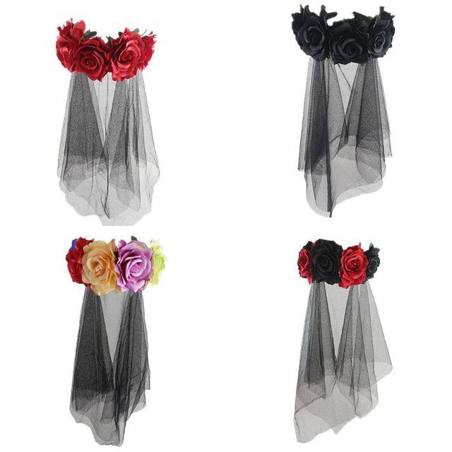 Halloween Wreath Headband Handmade Fabric Rose Flower with Black Mesh Veil Tulle Crown Festival Day of The Dead Hair Hoop