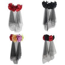 Halloween couronne bandeau fait main tissu Rose fleur avec maille noire voile Tulle couronne Festival jour des morts cerceau de cheveux