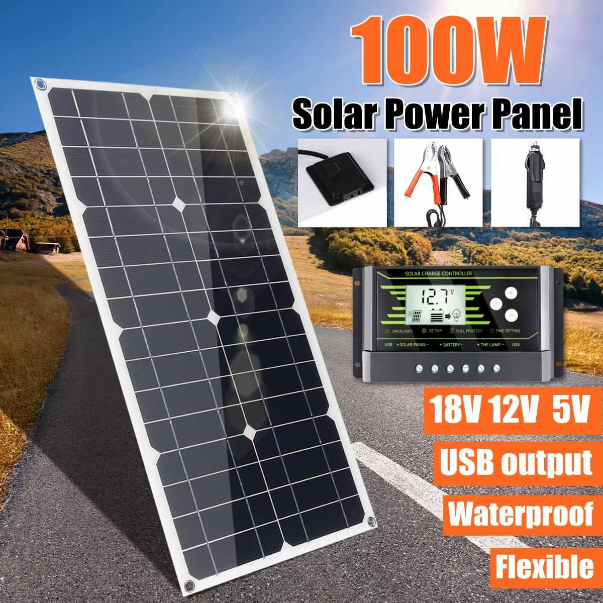 100W 18V Mono Solar Panel USB 12V/5V DC Monocrystalline Flexible Solar Charger For Car RV Boat Battery Charger Waterproof
