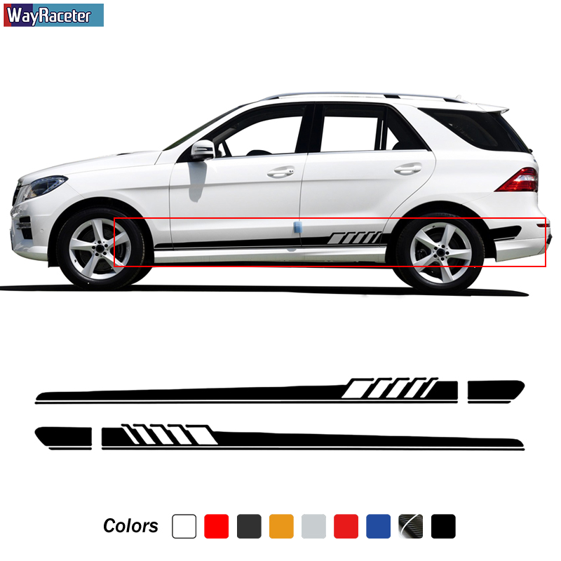 Car Door Side Skirt Stripe Sticker Decal For Mercedes Benz GLE GLK ML Class AMG W164 W166 GLE350 GLE400 GLK350 ML350 Accessories
