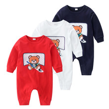 Baby Girl Romper Crew Neck Infant Cartoon Bear Baby Clothes Girl amp Boys Long Sleeve Baby Rompers Spring Autumn Baby Baby Clothes cheap HOMIESTTEXTILE COTTON O-Neck Pullover Unisex Full CRP349 Fits true to size take your normal size 100 cotton footies 100 Cotton