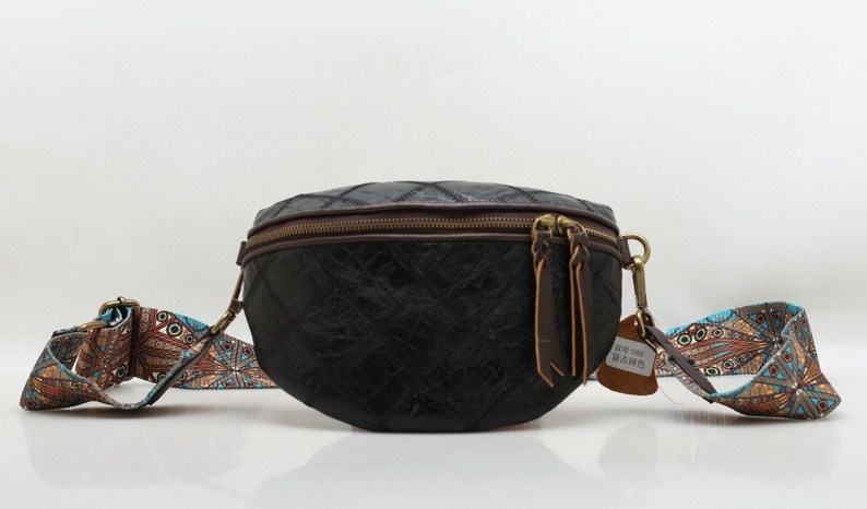 Genuine leather cow skin plaid women belt bag waist packs