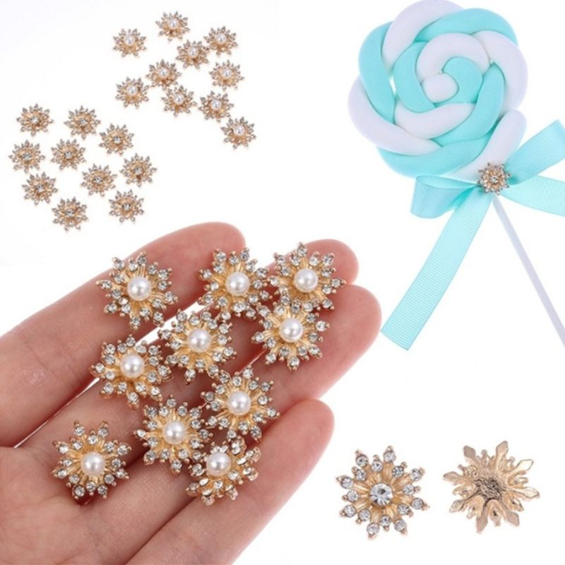 10Pcs/Set 17MM Rhinestone Faux Pearl Snowflake Buttons Flatback Hairpin Decoration DIY Craft Apparel Sewing Accessories