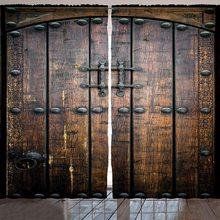 Cortinas de ventana rústicas, puerta de madera, estructura de Exterior Medieval antigua histórica, Impresión de decoración para dormitorio, negro y marrón