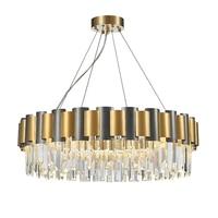 New crystal chandelier round gold + black decorative light creative luxury home lighting LED chandelier