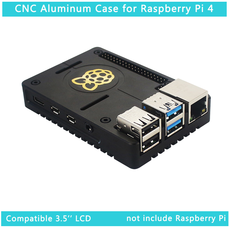 Raspberry Pi 4 CNC Aluminum Case Black Metal Enclosure Shell Compatiable For 3.5 Inch Touch LCD For Raspberry Pi 4 Model B