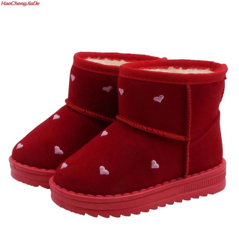 Girls Boots Fur Thick Warm Cute Lovely Children's Shoes New Shoes For Boys Top Quality Baby Cotton Kids Snow Boots Winter