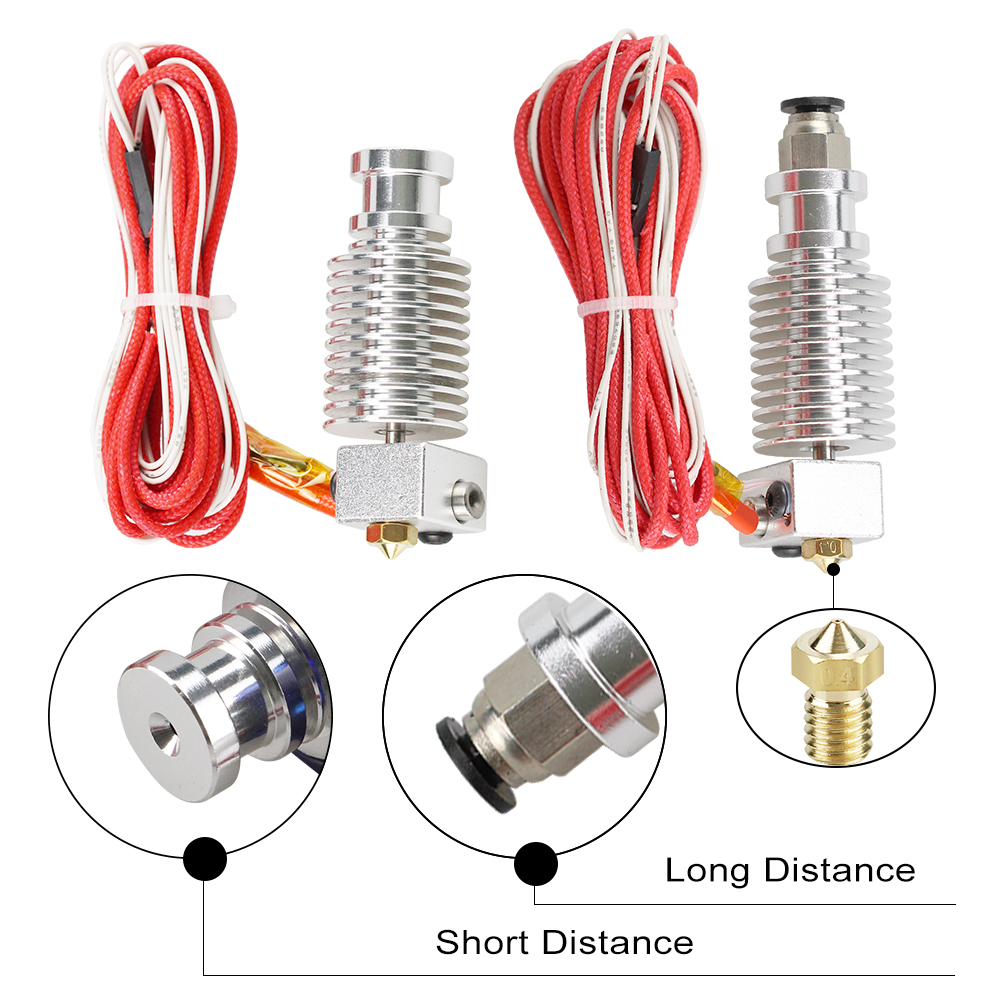 1Set E3D V6 3D Print J-head Hotend For 1.75/3mm Direct Filament Wade Extruder 0.2/0.3/0.4/0.5mm Nozzle Long / Short Distance