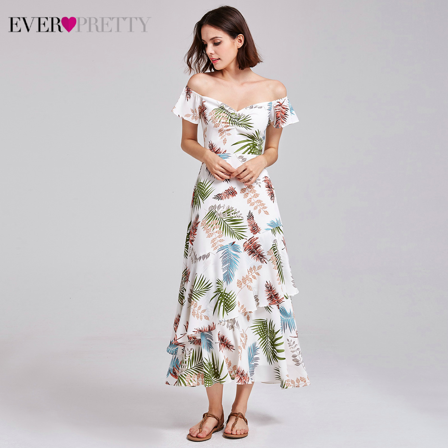 Sexy Floral Printed Cocktail Dresses Ever Pretty A-Line V-Neck Off The Shoulder Elegant Evening Party Gowns Vestidos De Festa