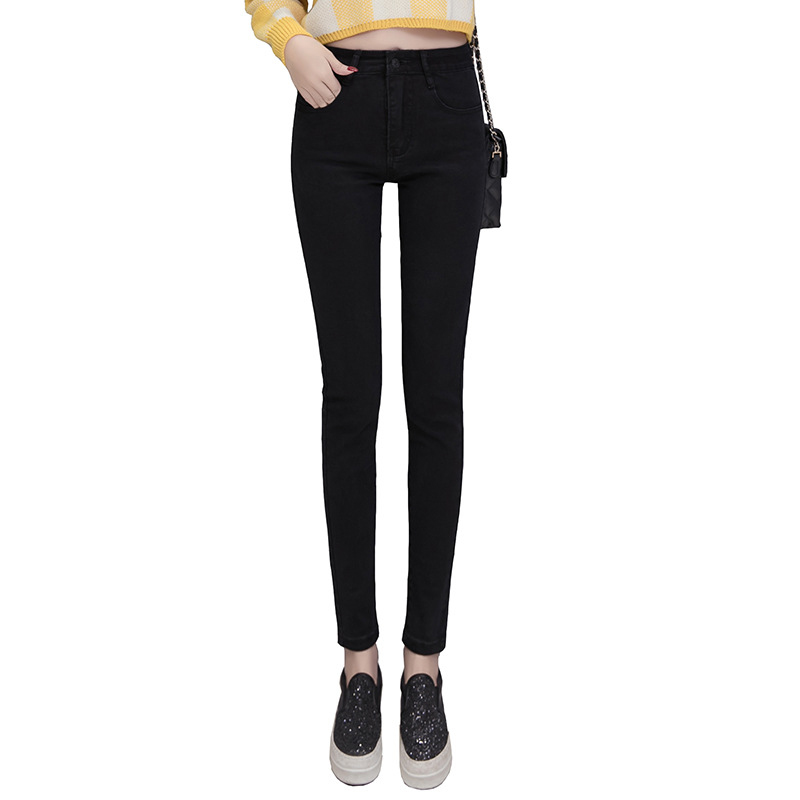 NORMOV Autumn Women Solid Jeans High Waist Button Skinny Elastic Pocket Thin Jeans Female Casual Plus Size Pencil Jeans 4 Color