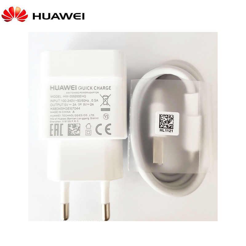 Huawei QC2.0 chargeur rapide 9V 2A prise ue câble Usb 3.1 type-c charge rapide pour smartphone P20 P30 Pro lite P9 P10 Nova 2 3 4 V10