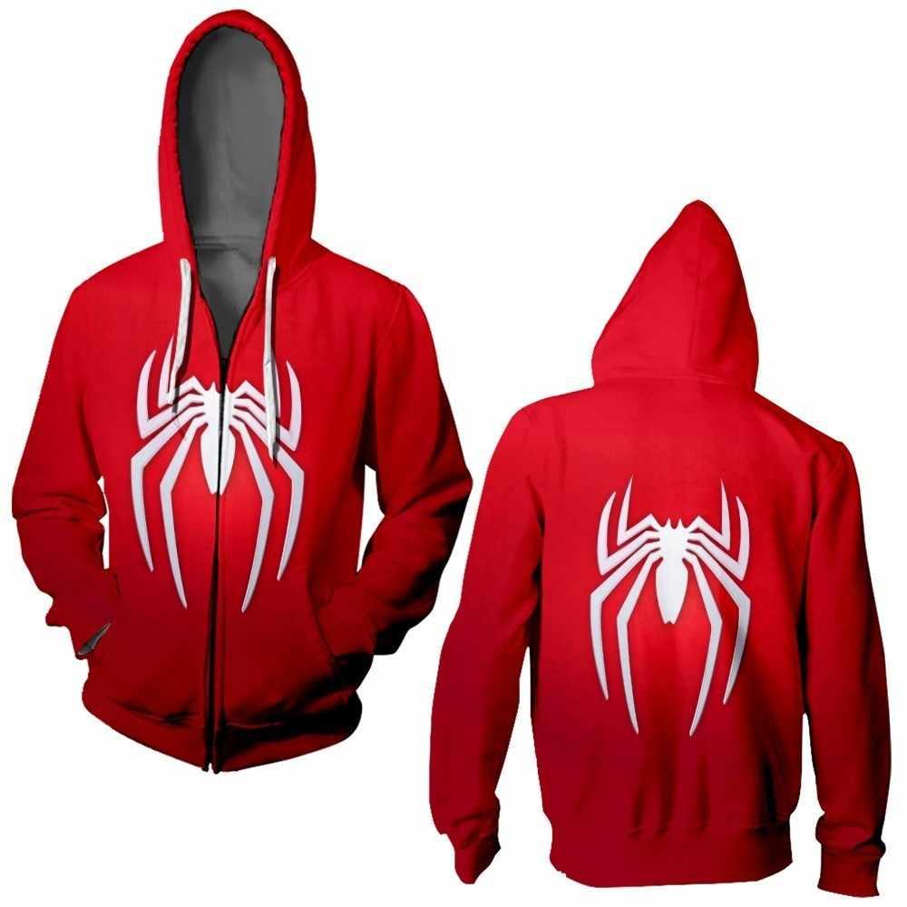 Sudadera con capucha 3D Spider-Man Zip Up sudaderas con cremallera de manga larga Hombre Mujer máscara Spiderman Hoodie Cosplay sudadera chaqueta