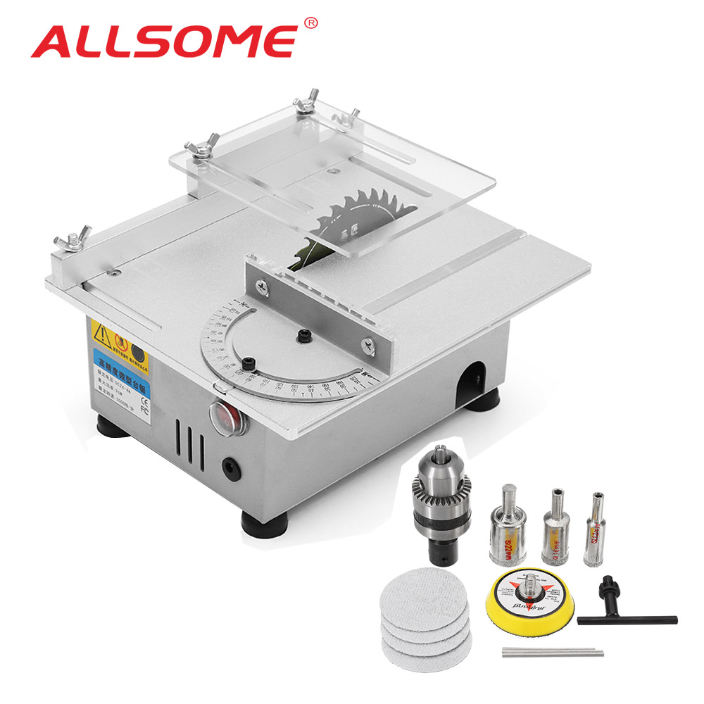 ALLSOME  T4 Version Table Saw Mini Precision Table Saws DIY Wood Working Lathe Polisher Drilling Machine