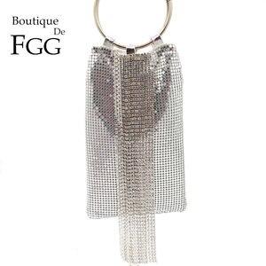Image 1 - Boutique De FGG Dazzling Silver Crystal Tassel Women Aluminum Evening Purse Cocktail Party Wristlets Clutch Handbag