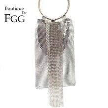 Boutique De FGGพราวคริสตัลคริสตัลผู้หญิงอลูมิเนียมกระเป๋าสตางค์ค็อกเทลปาร์ตี้คลัทช์กระเป๋าถือ