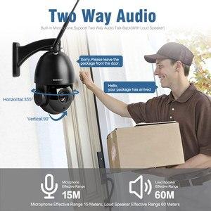 Image 2 - 1080P bezprzewodowy PTZ kamera IP kopułkowa zewnętrzna WIFI 20X zoom optyczny bezpieczeństwa CCTV kamera wideo głośnik audio 80m IR IP PTZ kamery CamHi