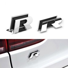 1Pcs 3D Red R R-Line Metal Stickers Car Styling Car Front Grille Body Emblem Badge For VW Golf 7 MK7 Polo Tiguan Passat Scirocco