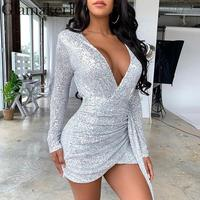 Glamaker Silver sequins sexy pleated bodycon short Women autumn winter streetwear v neck mini dress Female tie knot party dress