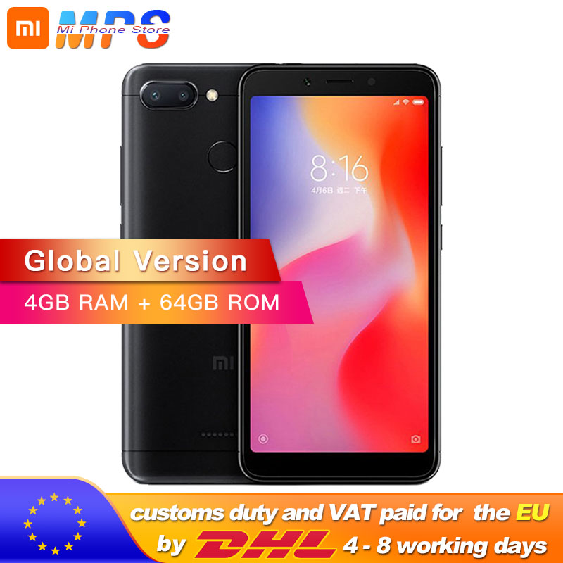 "Global Version Redmi 6 4GB 64GB Mobile Phone Helio P22 Octa Core 5.45"" 18:9 Full Screen 12.0MP+5.0MP 3000mAh"