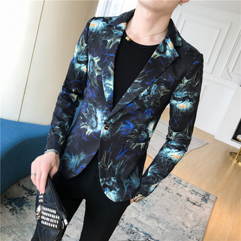 2018 Male Suit Blazer Flower Gold Print Party Wedding Festival Stylish Blazers For Men Stage Costumes Singers Slim Fit Jacket 1