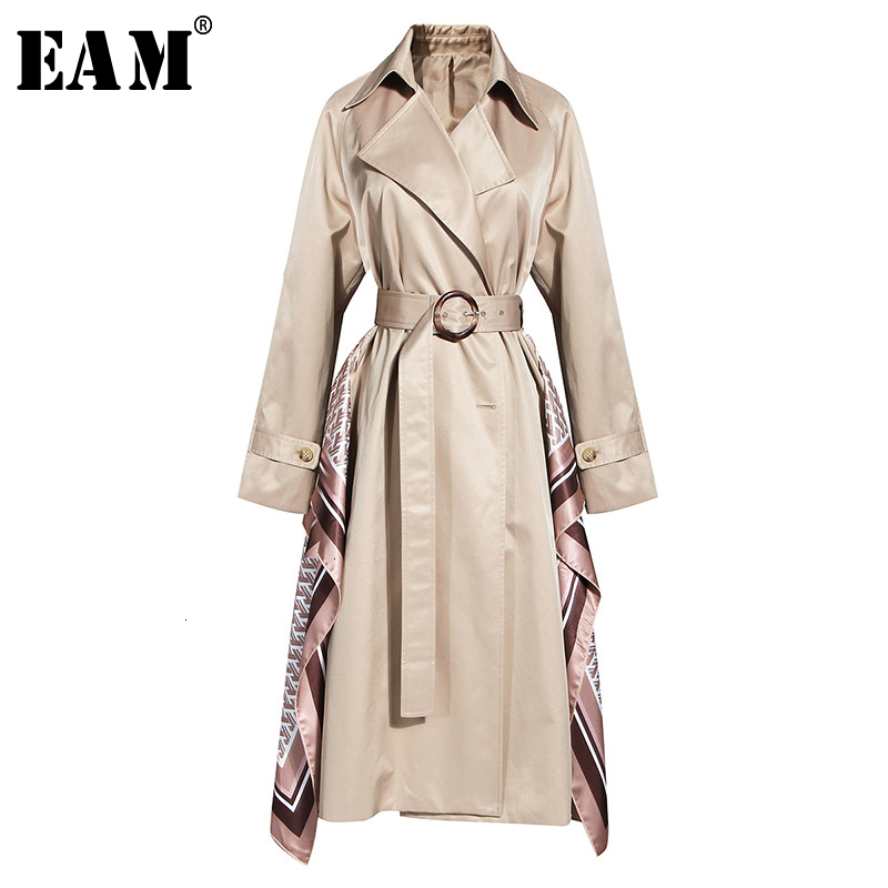 [EAM] Women Pattern Split Khaki Trench New Lapel Long Sleeve Loose Fit Windbreaker Fashion Tide Autumn Winter 2019 19A-a781