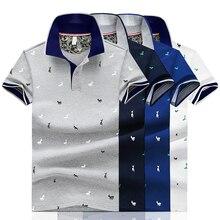 Мужская летняя рубашка поло с принтом оленя, короткий рукав, облегающая, модная уличная одежда, топы, мужские рубашки, Спортивные Повседневные рубашки для гольфа