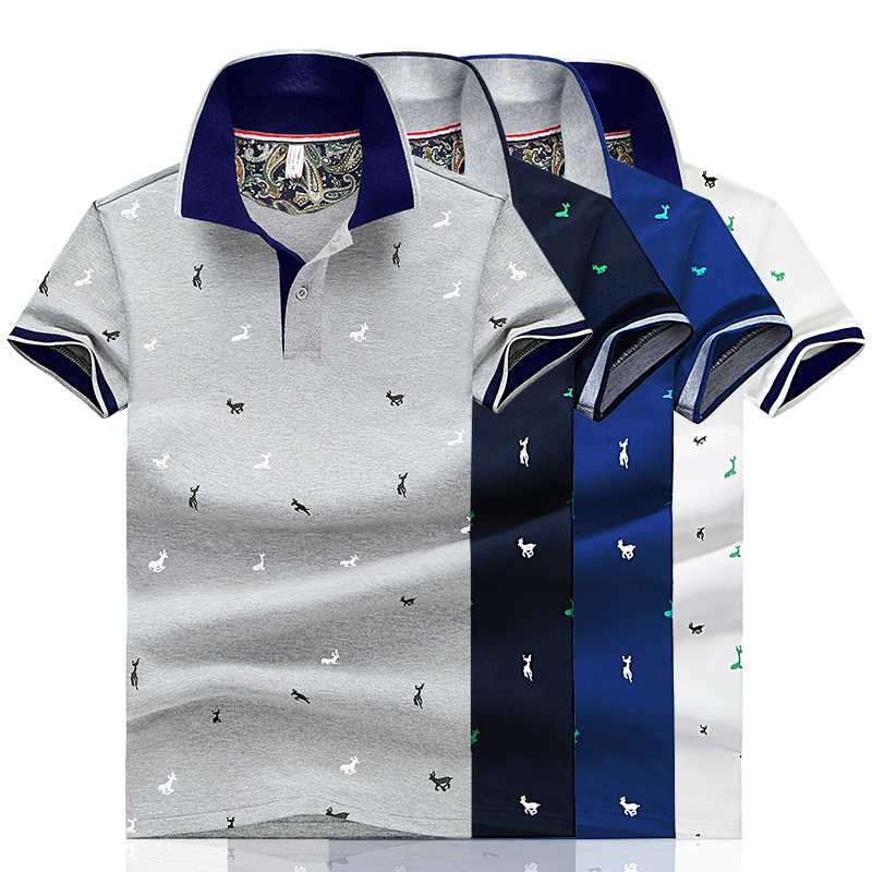 2019 Men Summer Deer Print Polo Shirt Short Sleeve Slim Fit Polos Fashion Streetwear Tops Men Shirts Sports Casual Golf Shirts