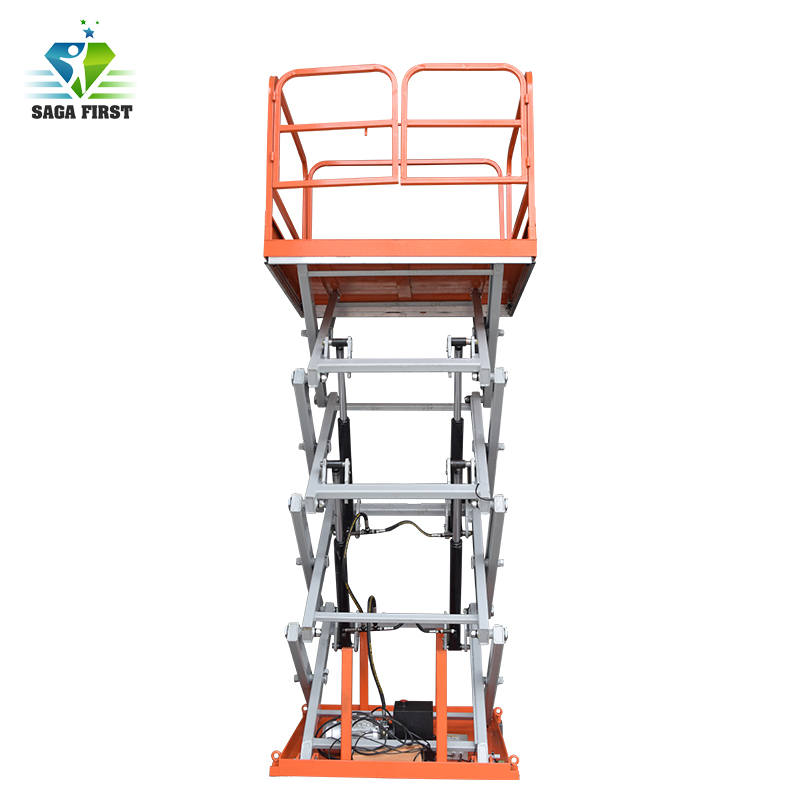 Stationary Scissor Lift Table Moving By Man Manually. Lifting By AC Or DC Power